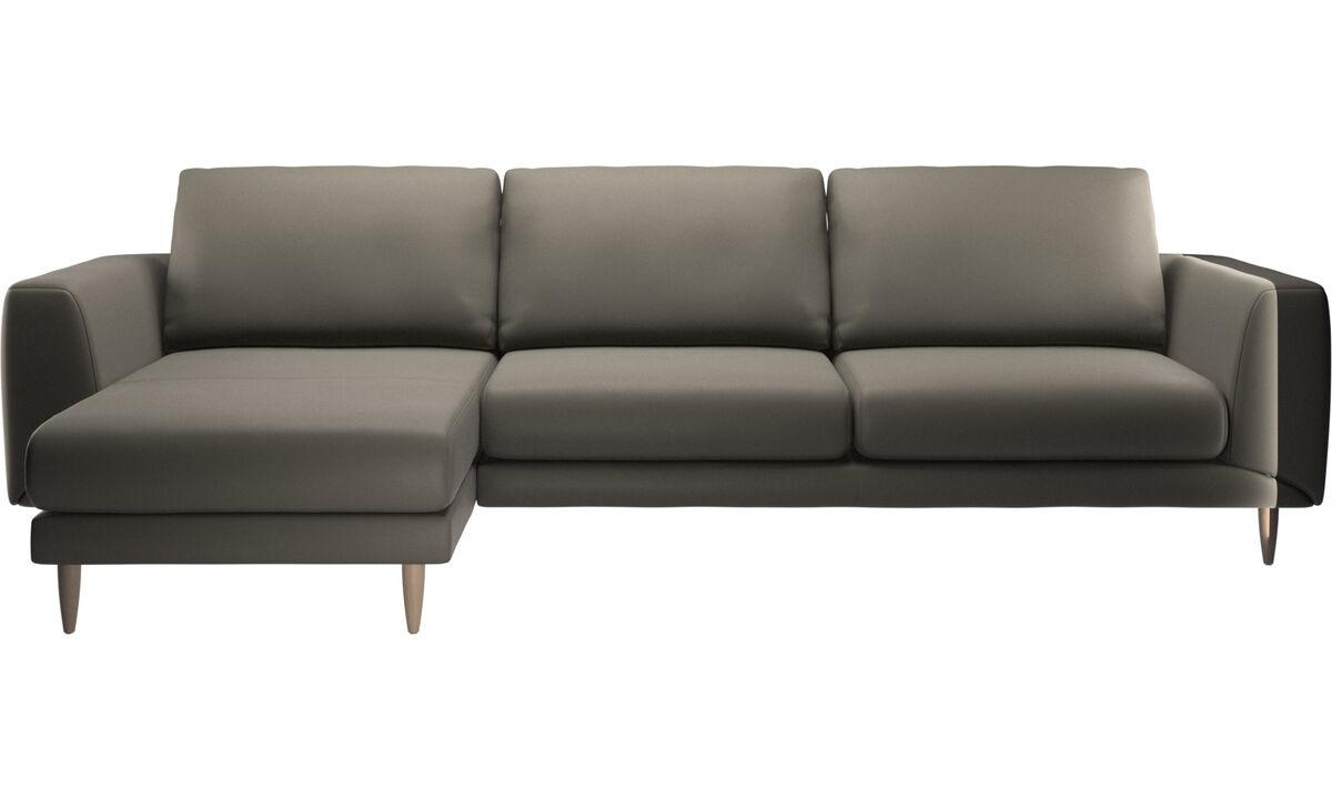 Sofás con chaise longue - sofá Fargo con módulo chaise-longue - En gris - Piel