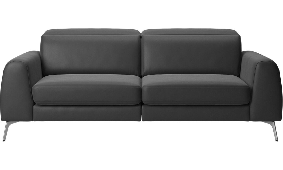 New designs - Madison sofa with sleeper function and manual headrest - Black - Leather