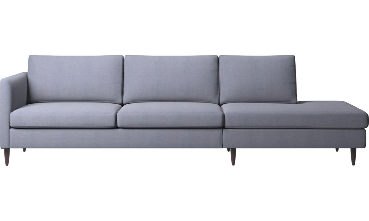 Sofas with open end - Indivi sofa with lounging unit - Blue - Fabric