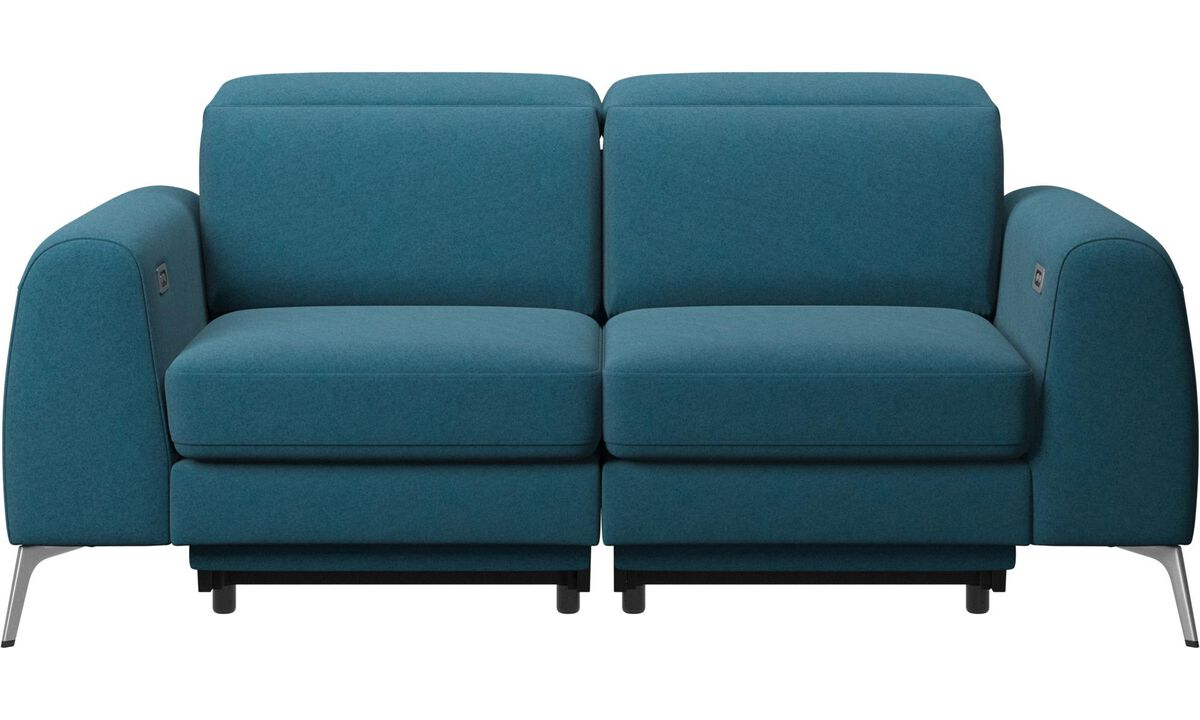 2 seater sofas - Madison sofa with electric seat, head and footrest motion (rechargeable lithium battery included) - Blue - Fabric