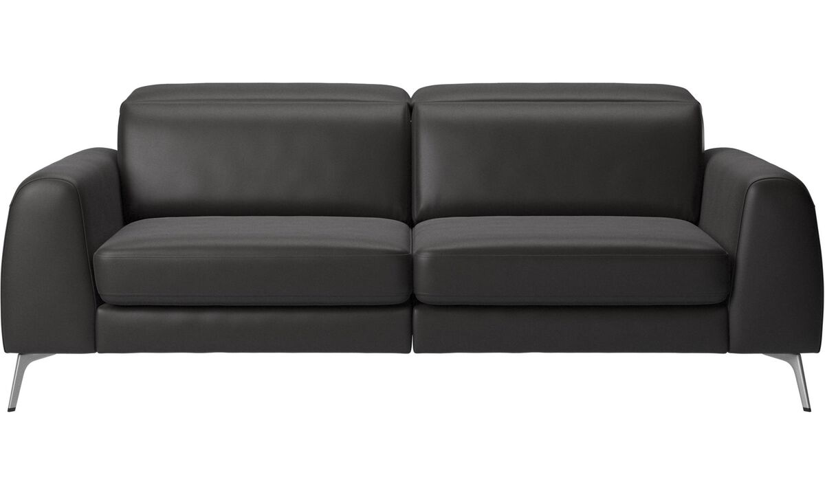 Sofa beds - Madison sofa with sleeper function and manual headrest - Black - Leather