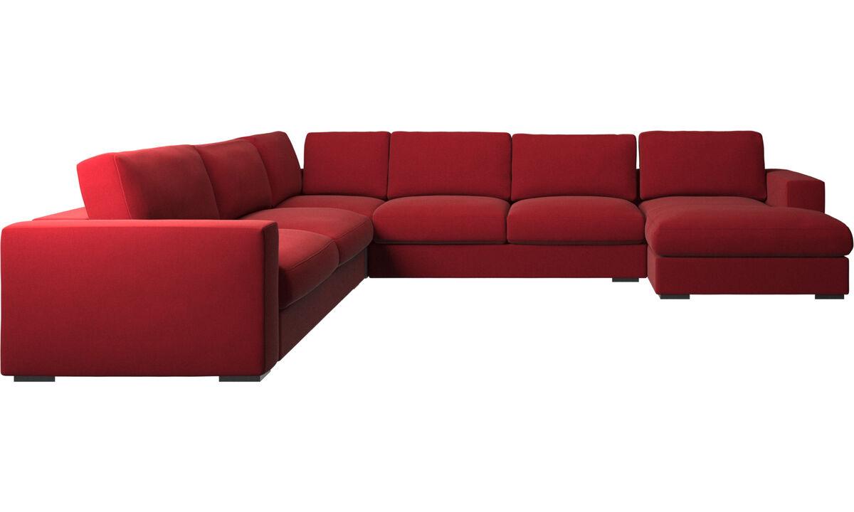 Sofás de canto - Sofá de canto Cenova chaise-longue - Vermelho - Tecido