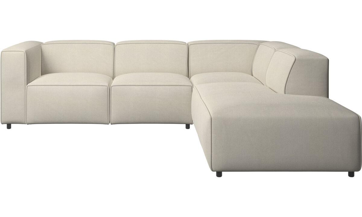 Sofás con chaise longue - Sofá esquinero Carmo con movimiento - Blanco - Tela