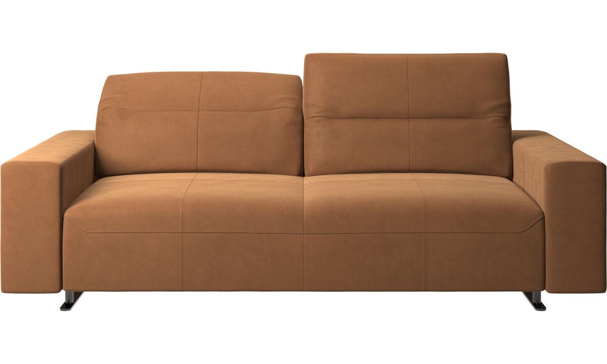 Canapés 2 places et demi - Canapé Hampton avec dossier ajustable - Marron - Cuir