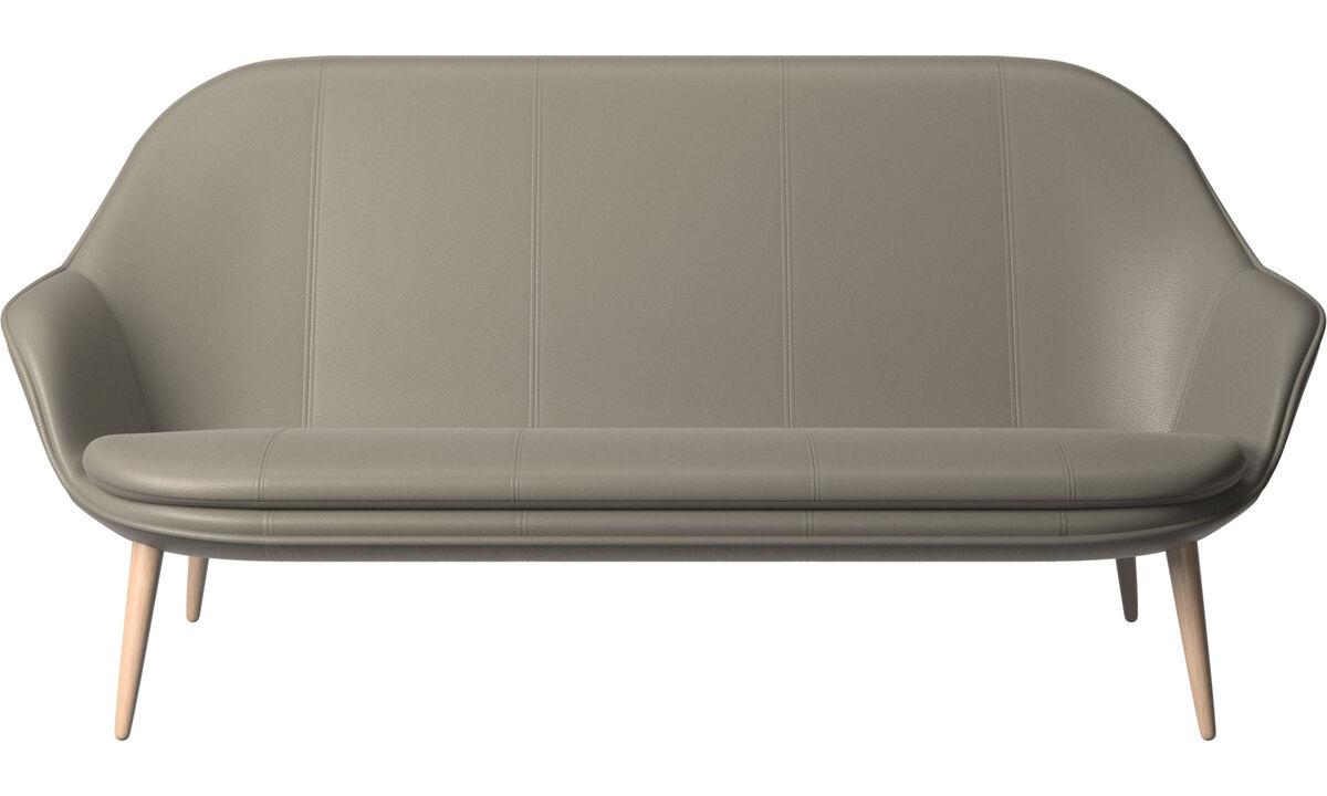 Sofás de 2 plazas y media - sofá Adelaide - En gris - Piel