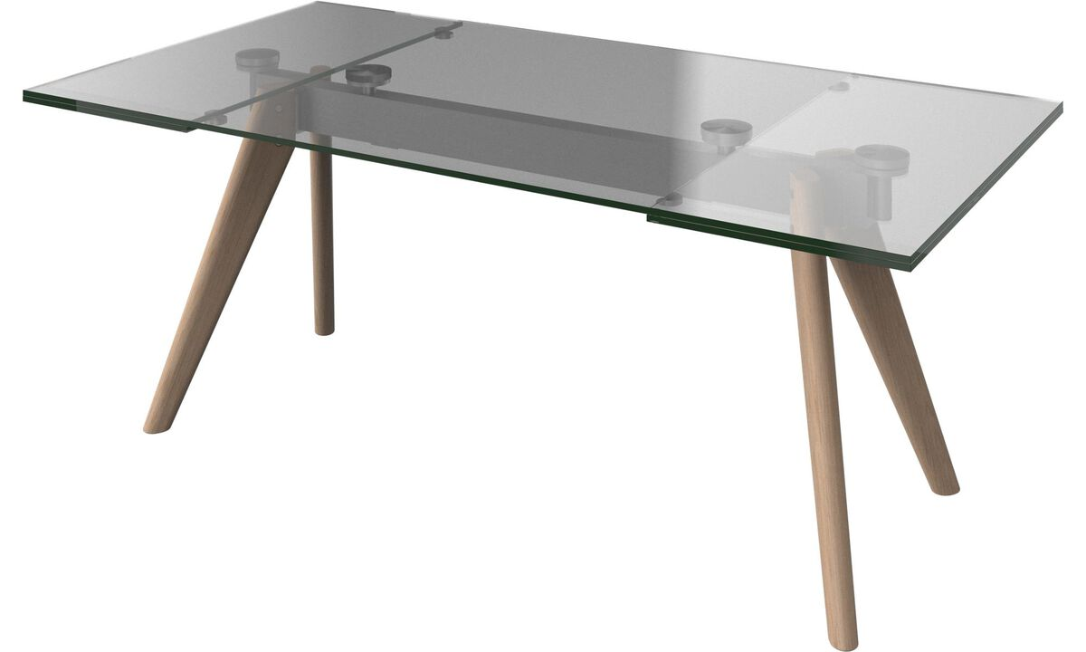 New designs - Monza table with supplementary tabletops - square - Clear - Glass