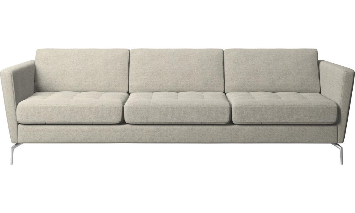 Sofás de 3 plazas - sofá Osaka, asiento capitoné - En beige - Tela