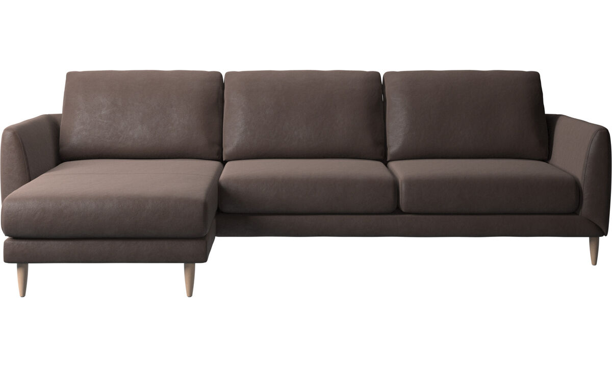 Chaise lounge sofas - Fargo sofa with resting unit - Brown - Leather