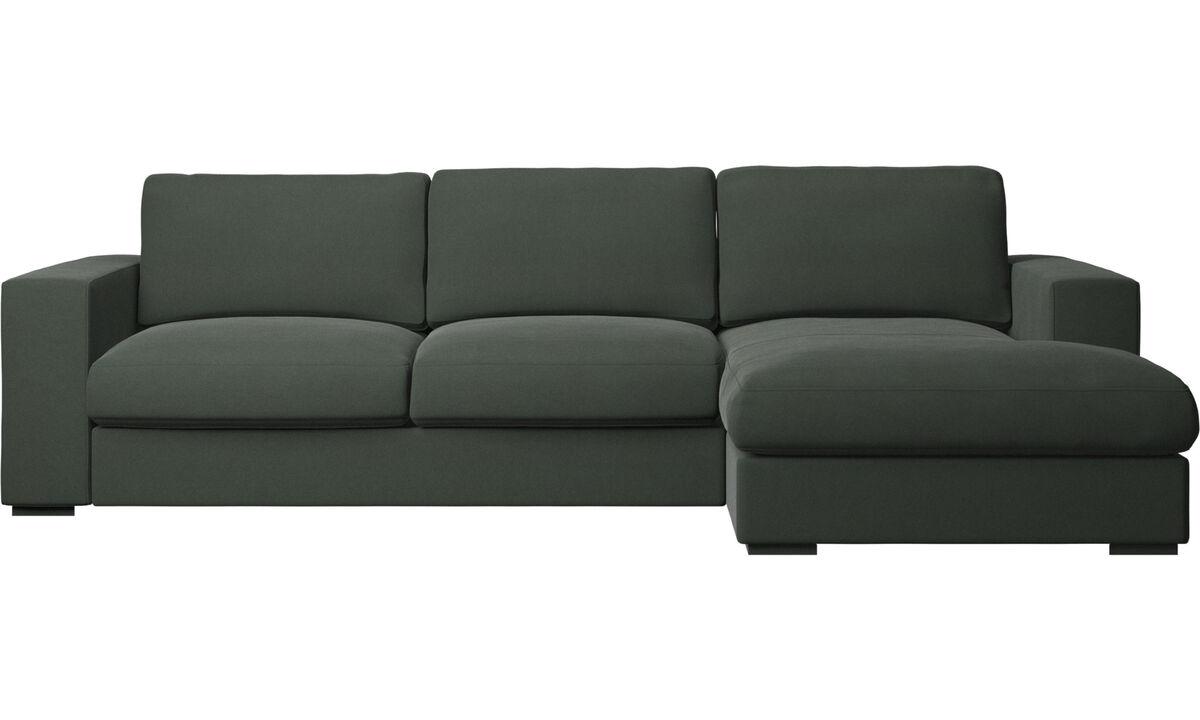 Sofás com chaise - Sofá Cenova chaise-longue - Verde - Tecido