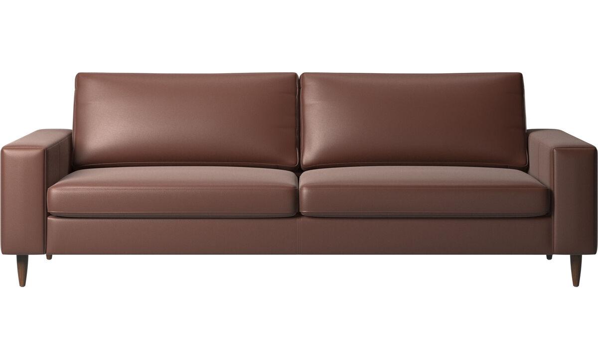 Sofás de 3 plazas - sofá Indivi - En marrón - Piel