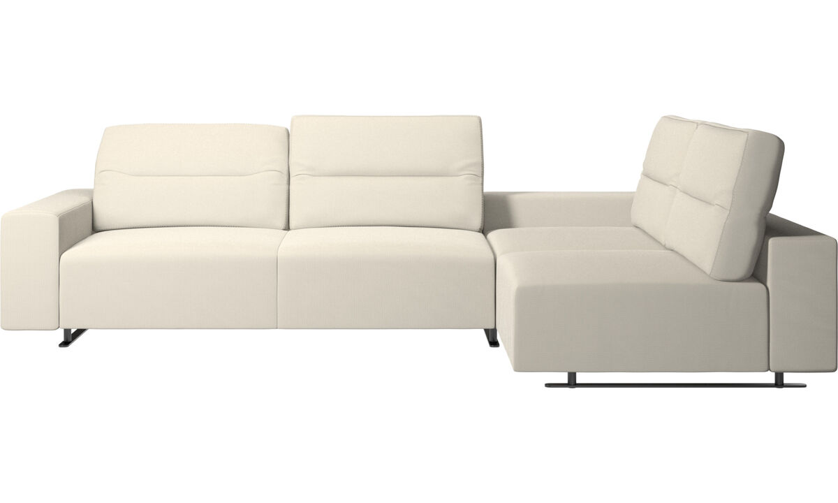 Corner sofas - Hampton corner sofa with adjustable back and storage on left side - White - Fabric