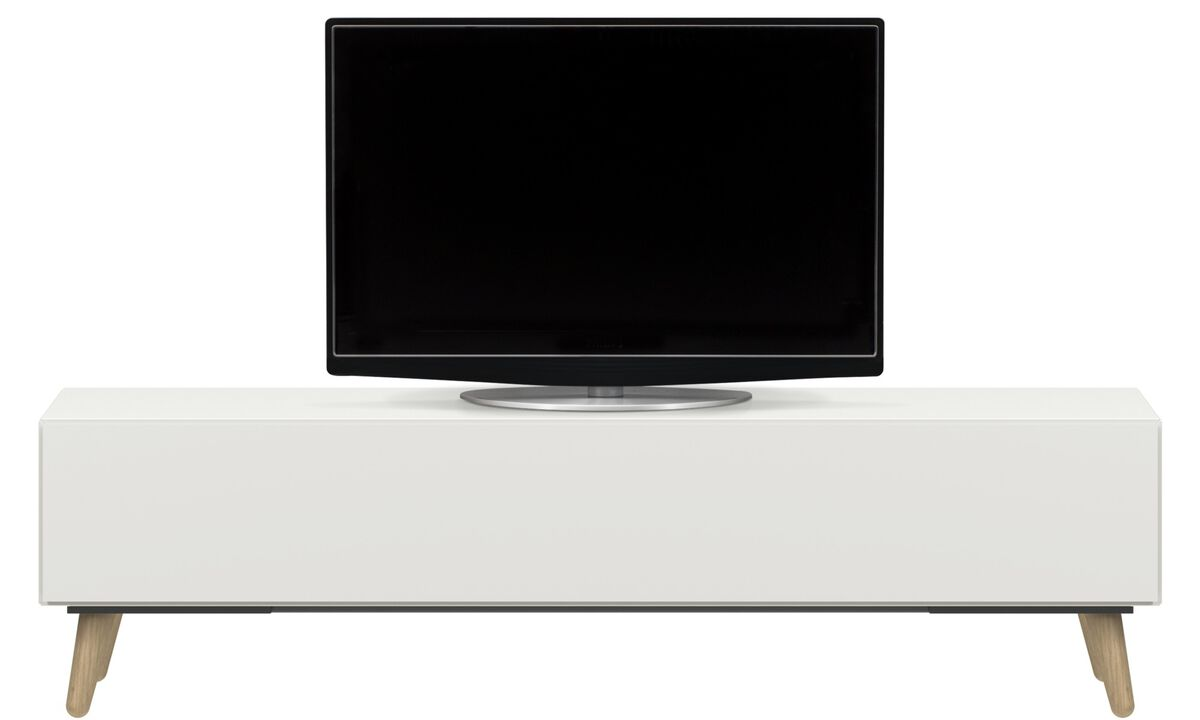 Tv units - Lugano media unit with drawer - White - Lacquered