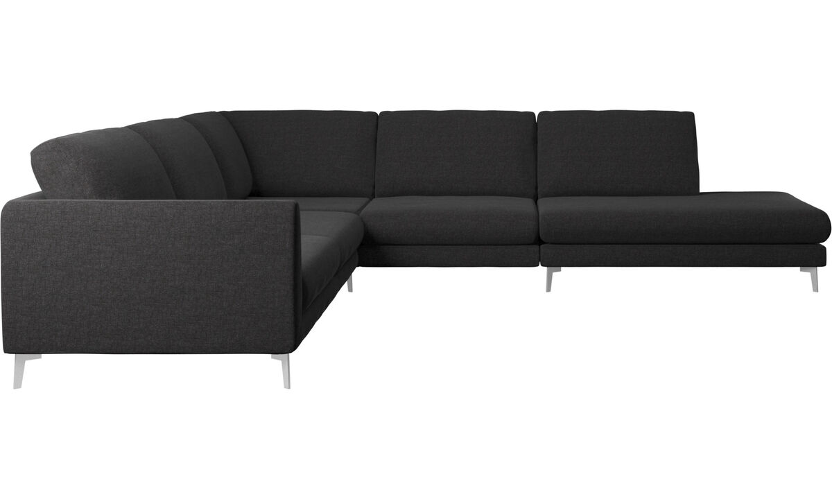 Sofas with open end - Fargo corner sofa with lounging unit - Black - Fabric