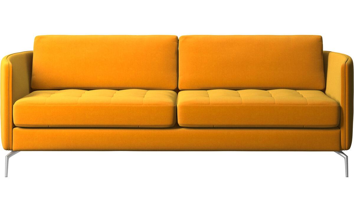 Sofás de 2 lugares e meio - sofá Osaka, assento tufado - Laranja - Tecido