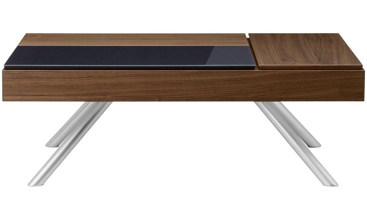 Stoliki kawowe - Funkcjonalny stolik kawowy Chiva ze schowkiem - prostokątny - Brązowy - Orzech