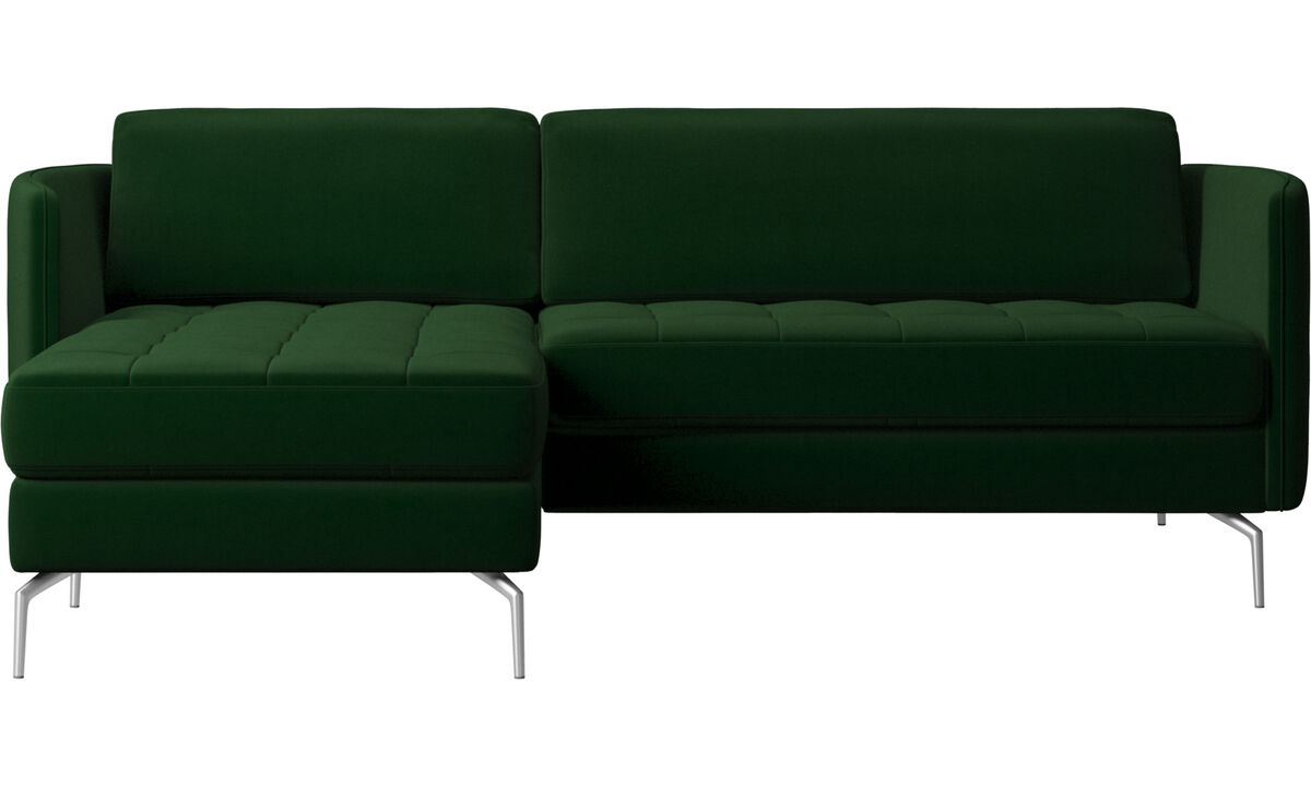 Chaise lounge sofas - Osaka sofa with resting unit, tufted seat - Green - Fabric