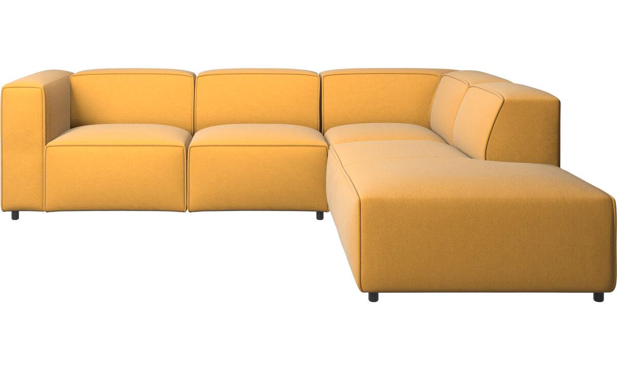 Sofás reclinables - Sofá esquinero Carmo con movimiento - En amarillo - Tela