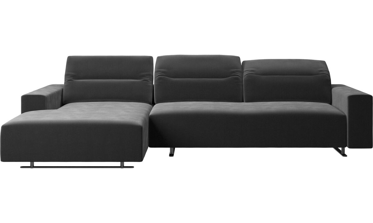 Chaise lounge sofas - Hampton sofa with adjustable back and resting unit left side, storage right side - Black - Fabric