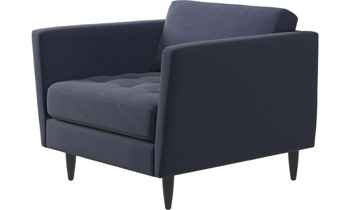 Nieuw design - Osaka fauteuil, gecapitonneerde zitting - Blauw - Stof