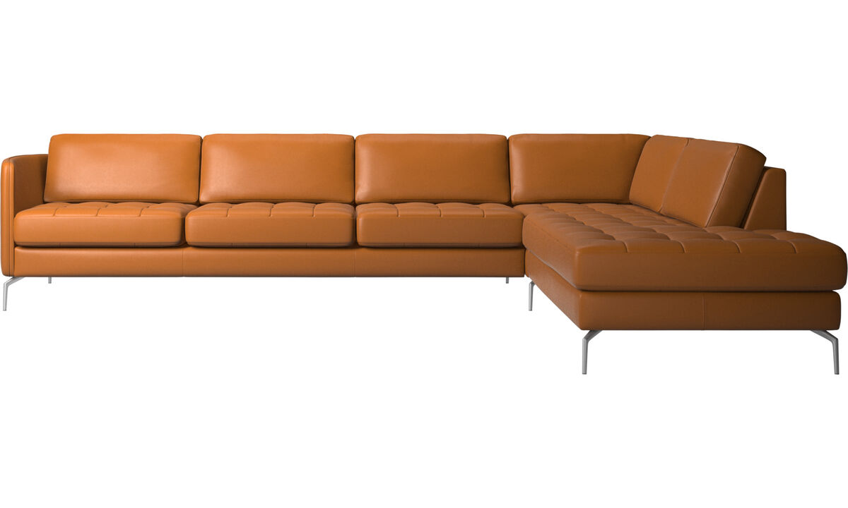 Corner sofas - Osaka corner sofa with lounging unit, tufted seat - Brown - Leather