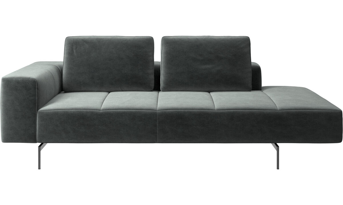 Chaise longue sofas - Amsterdam resting module for sofa, large armrest right - Green - Fabric