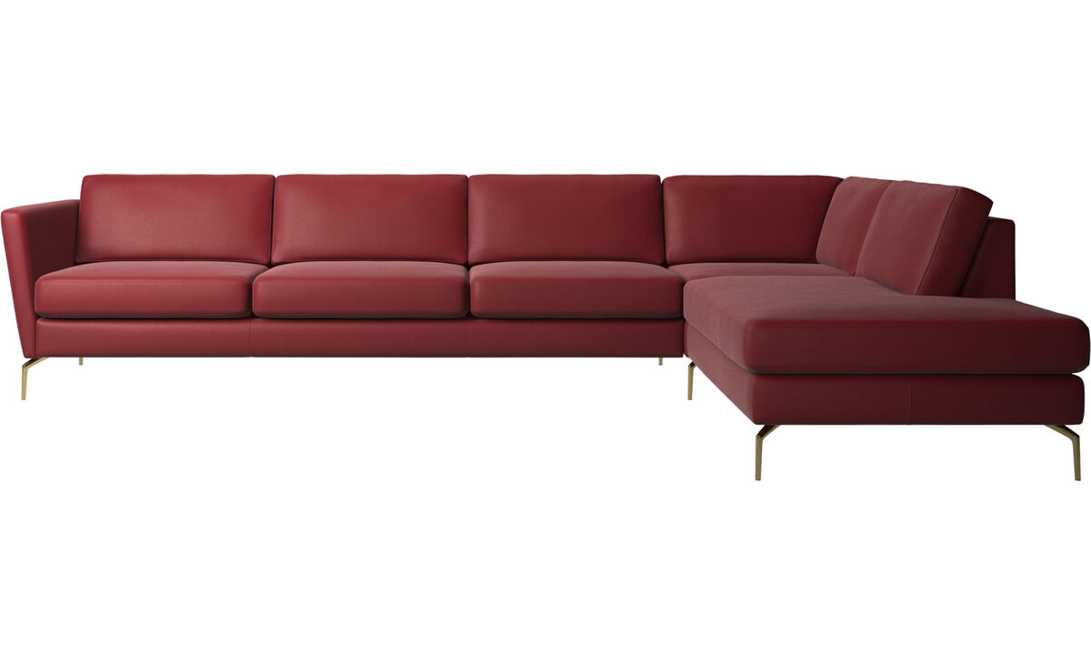 Sofas with open end - Osaka corner sofa with lounging unit, regular seat - Red - Leather