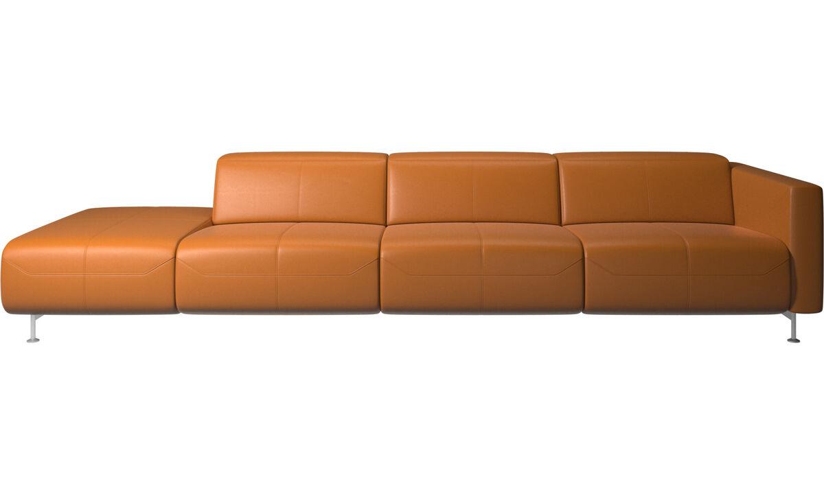 Sofás reclináveis - Parma, sofá reclinável com a extremidade aberta - Castanho - Pele