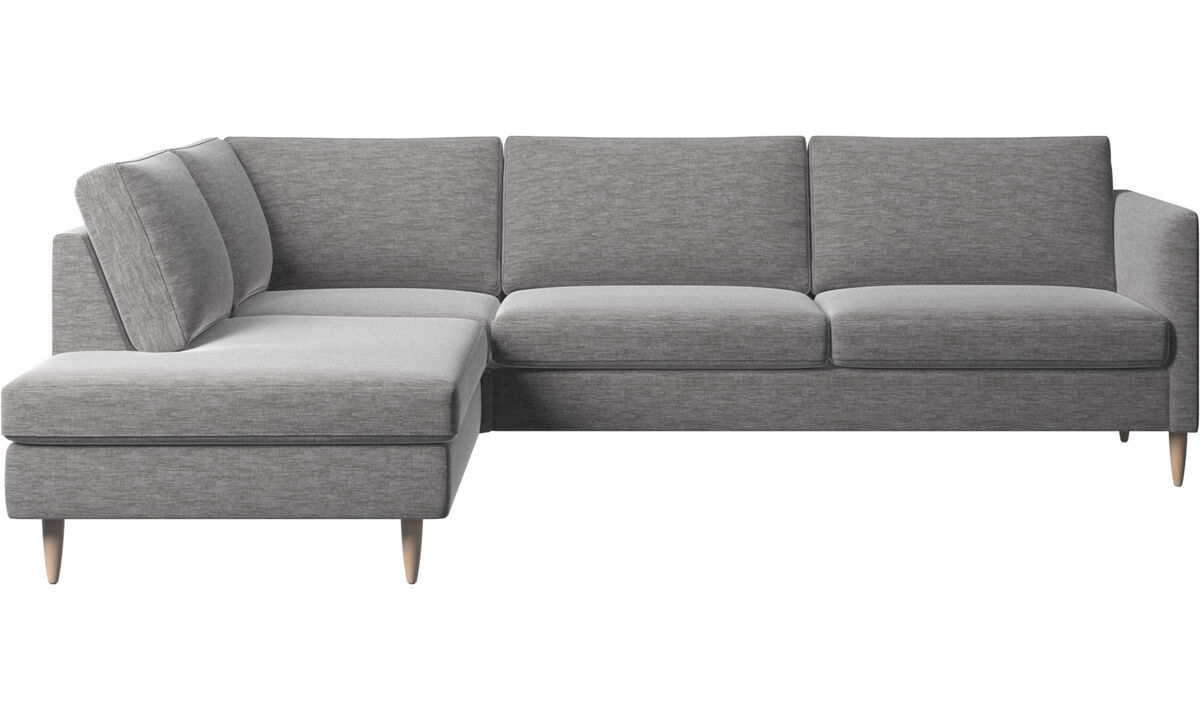 Corner sofas - Indivi corner sofa with lounging unit - Gray - Fabric