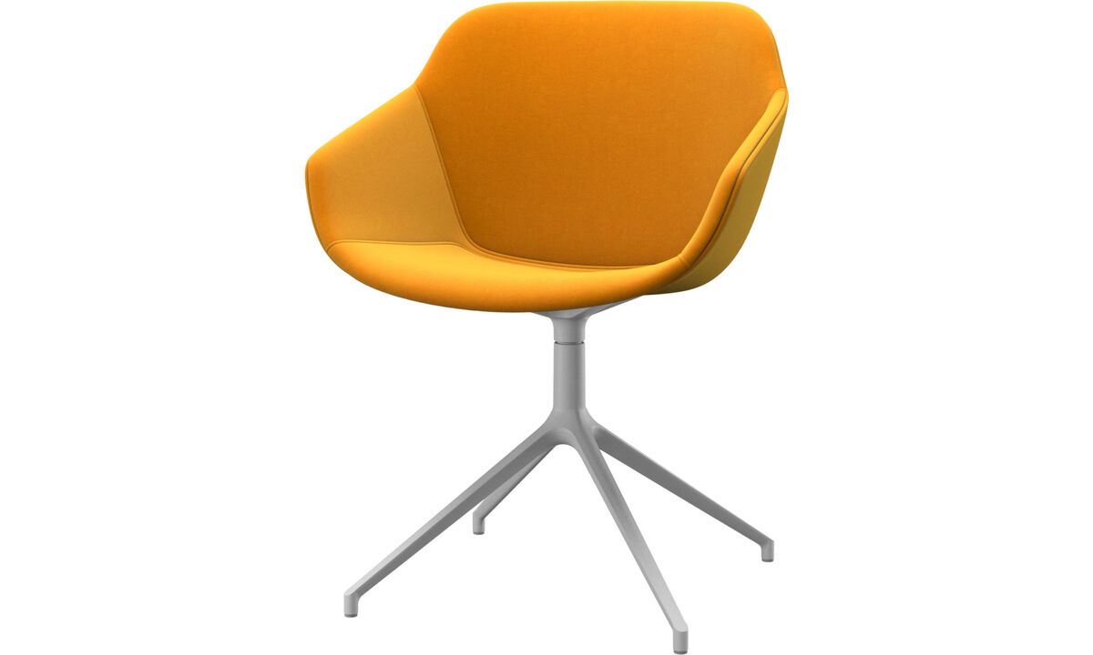 Dining chairs - Vienna chair with swivel function - Orange - Fabric
