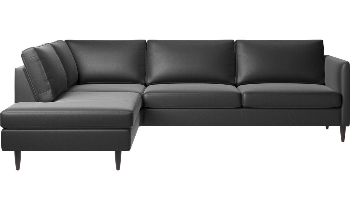 Corner sofas - Indivi divano ad angolo con modulo relax - Nero - Pelle