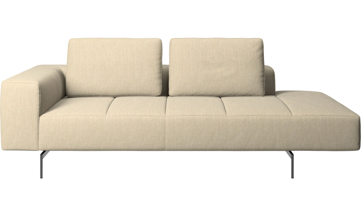 Chaise lounge sofas - Amsterdam resting module for sofa, armrest left, open end right - Brown - Fabric