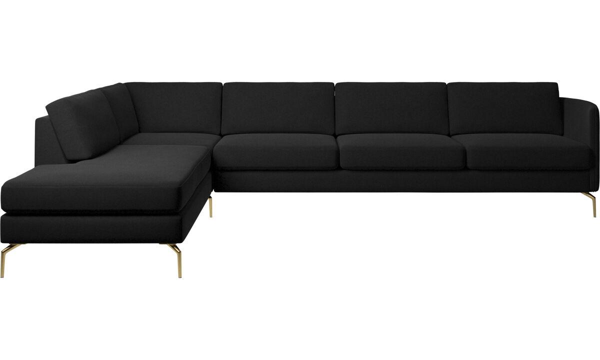 Sofas with open end - Osaka corner sofa with lounging unit, regular seat - Black - Fabric