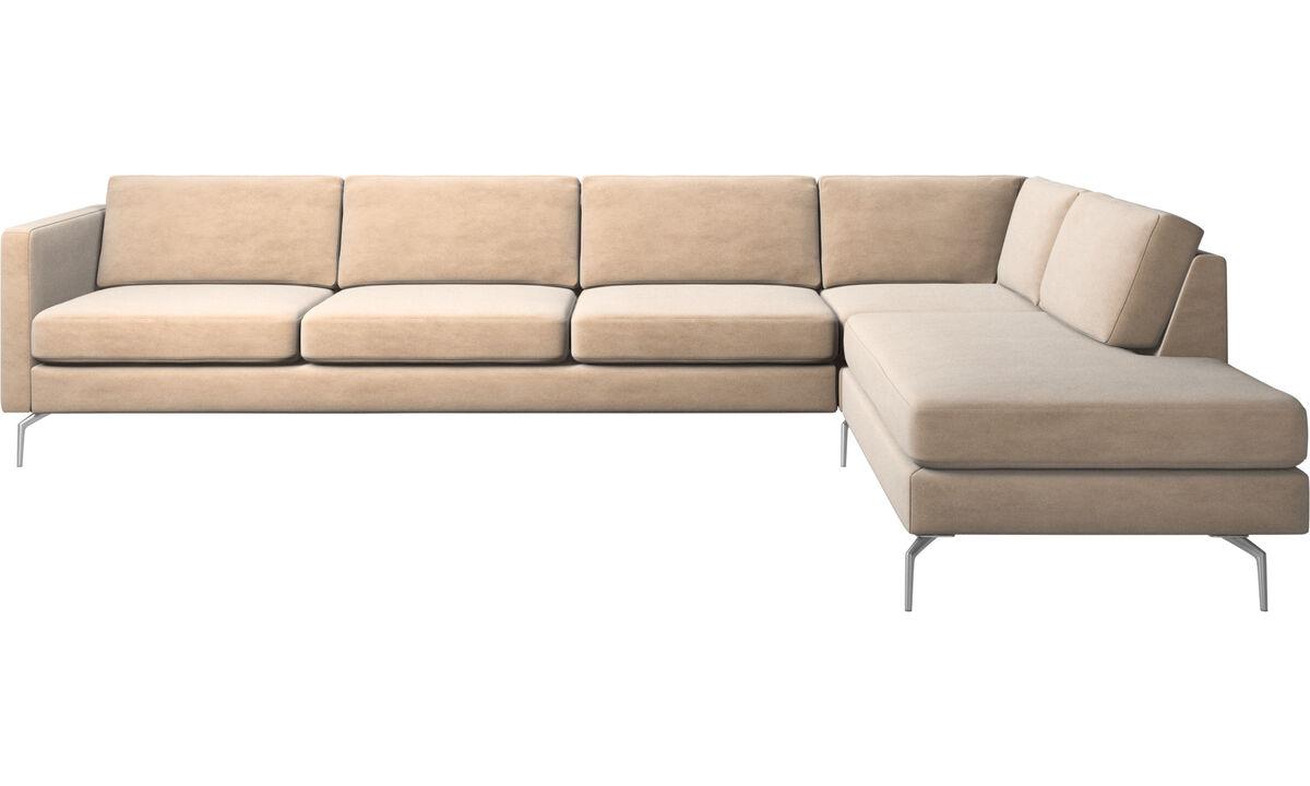 Canapés avec méridienne - canapé d'angle Osaka avec méridienne, assise classique - Beige - Tissu