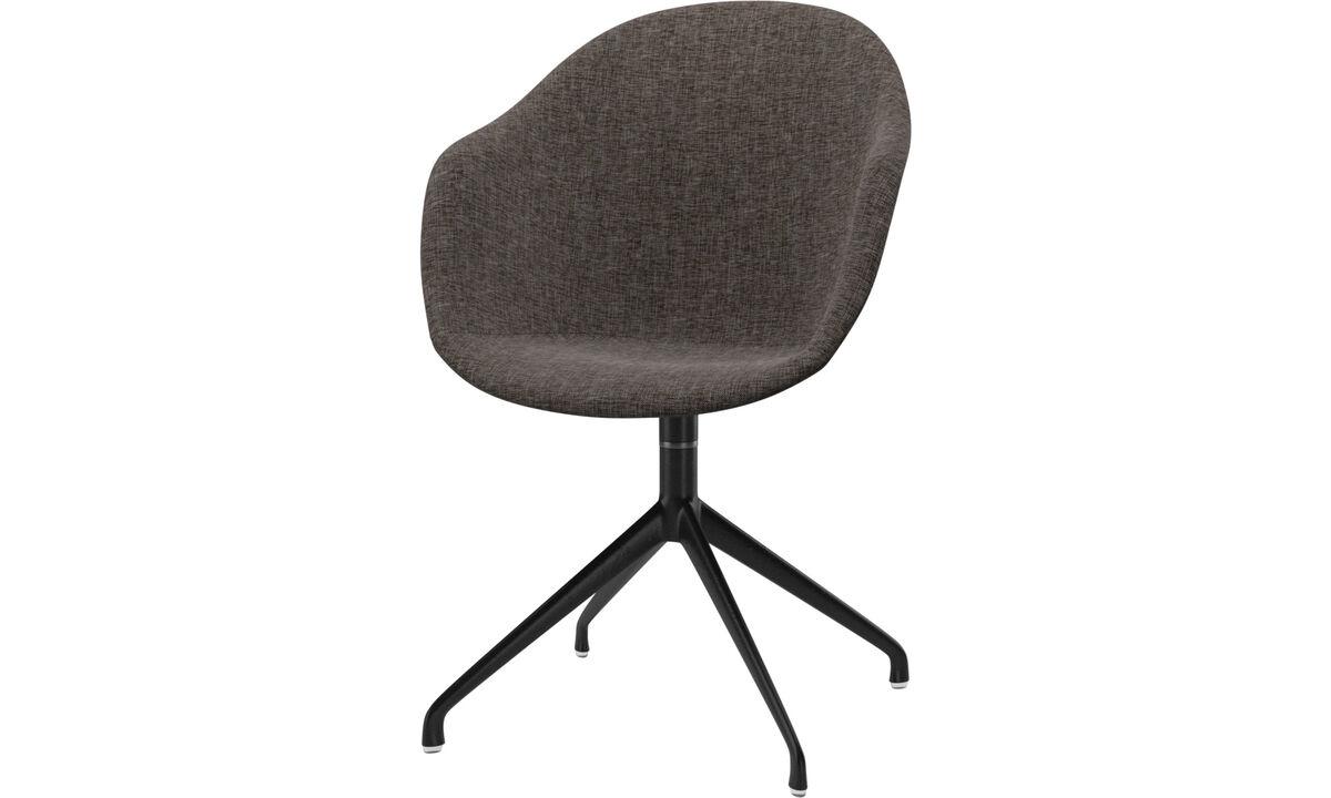 Sillas de comedor - silla Adelaide con función giratoria - En marrón - Tela