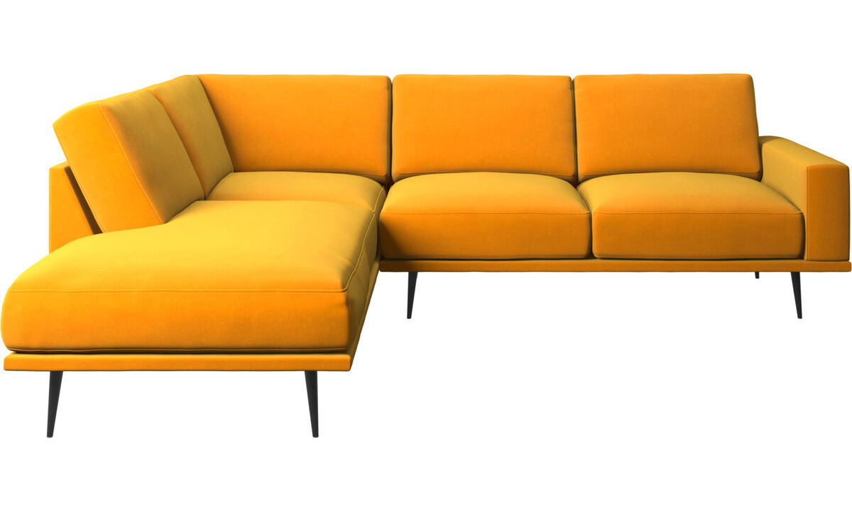 Sofas with open end - Carlton sofa with lounging units - Orange - Fabric