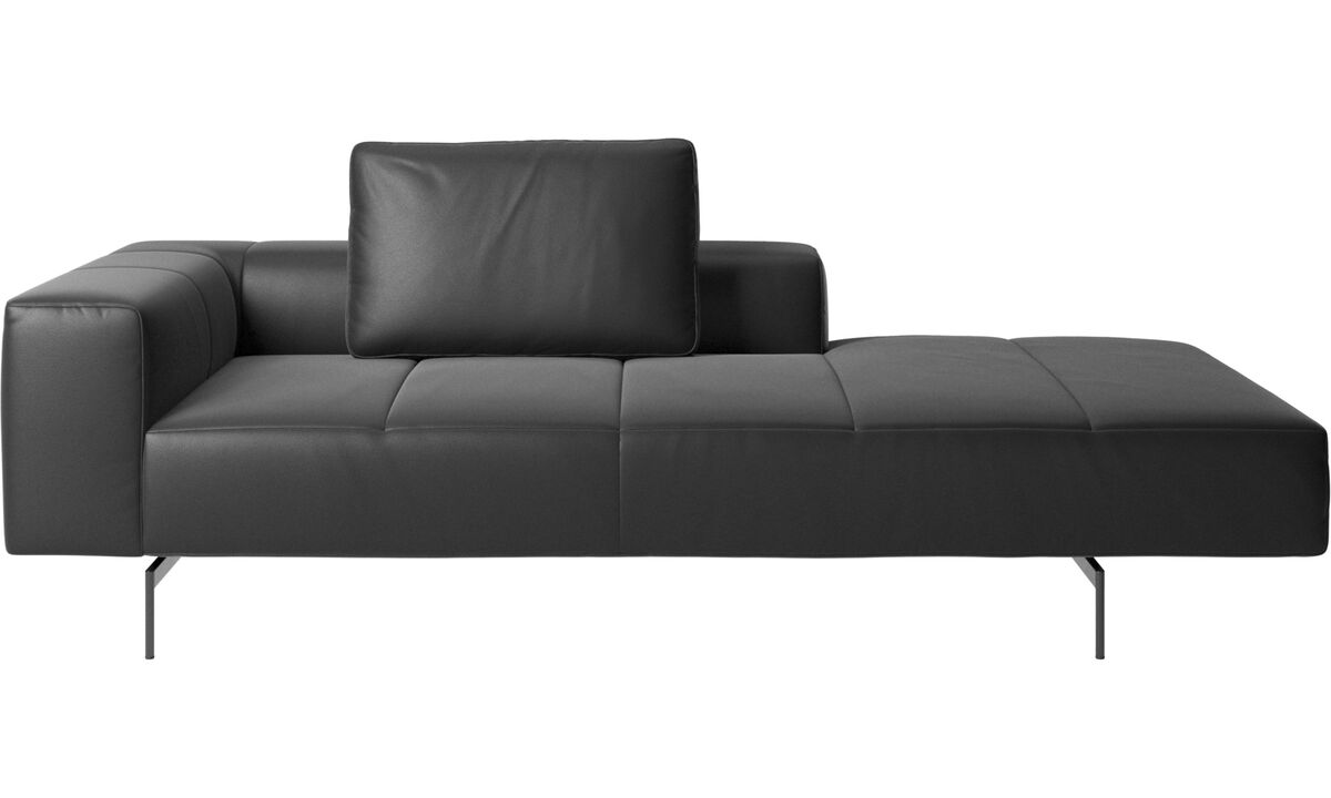 Chaise lounge sofas - Amsterdam Iounging module for sofa, armrest left, open end right - Black - Leather