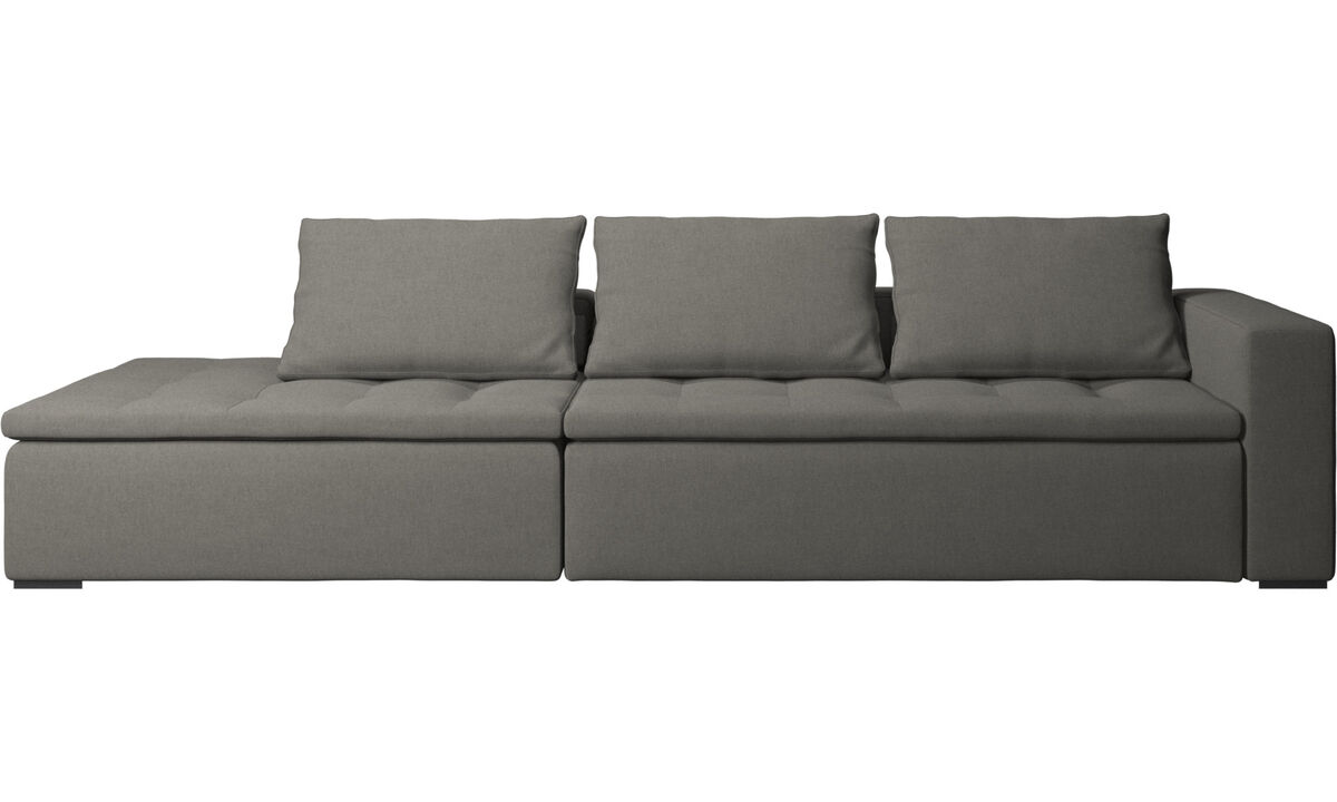Sofas with open end - Mezzo sofa with lounging unit - Grey - Fabric