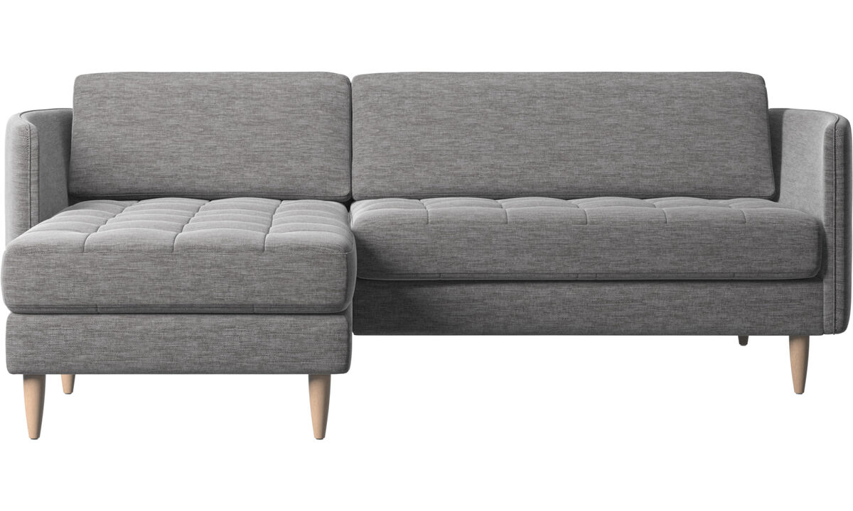 Chaise lounge sofas - Osaka sofa with resting unit, tufted seat - Grey - Fabric
