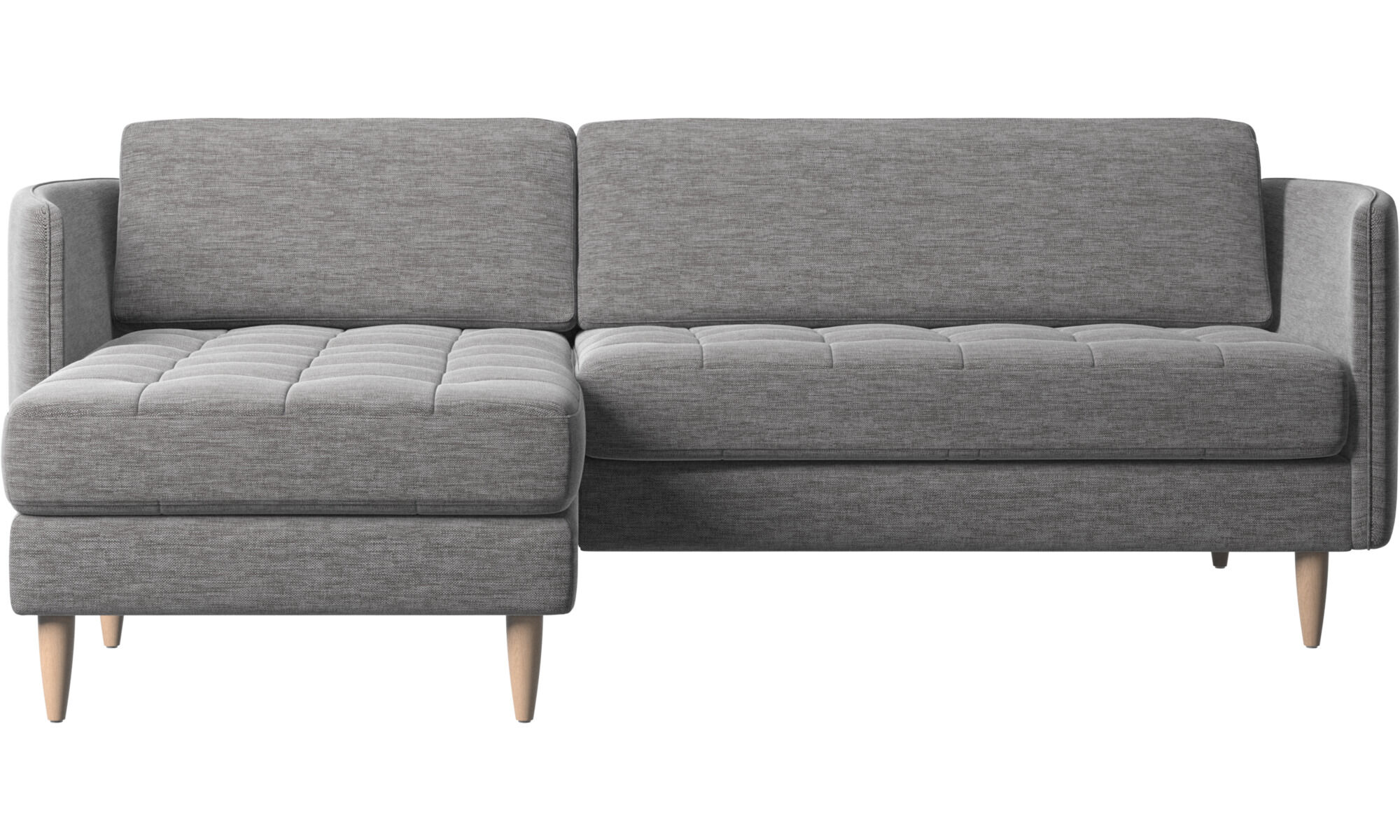 Attractive Chaise Lounge Sofas   Osaka Sofa With Resting Unit, Tufted Seat   Grey    Fabric