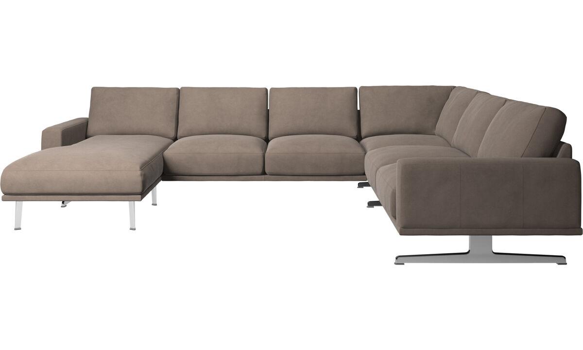 Corner sofas - Carlton corner sofa with resting unit - Gray - Leather