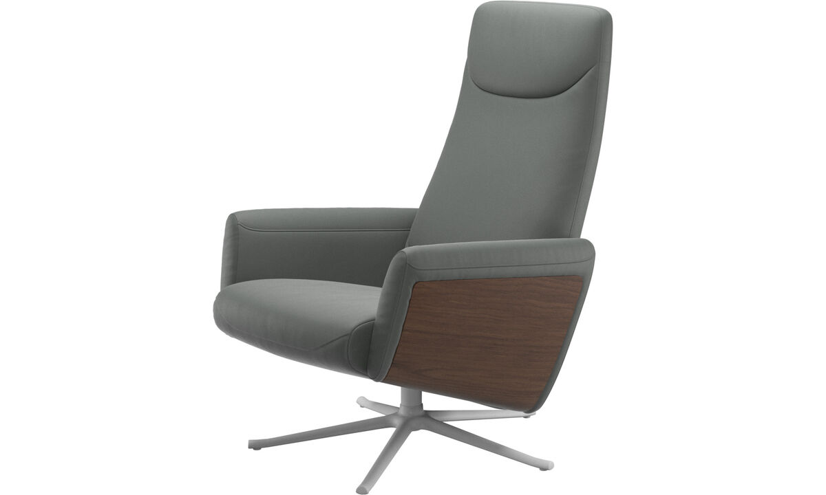 Armchairs - Lucca recliner with swivel function - Grey - Leather