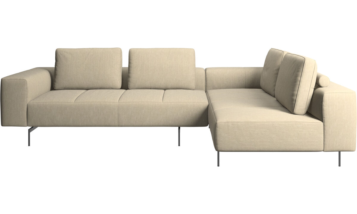 Modular sofas - Amsterdam corner sofa with lounging unit - Brown - Fabric