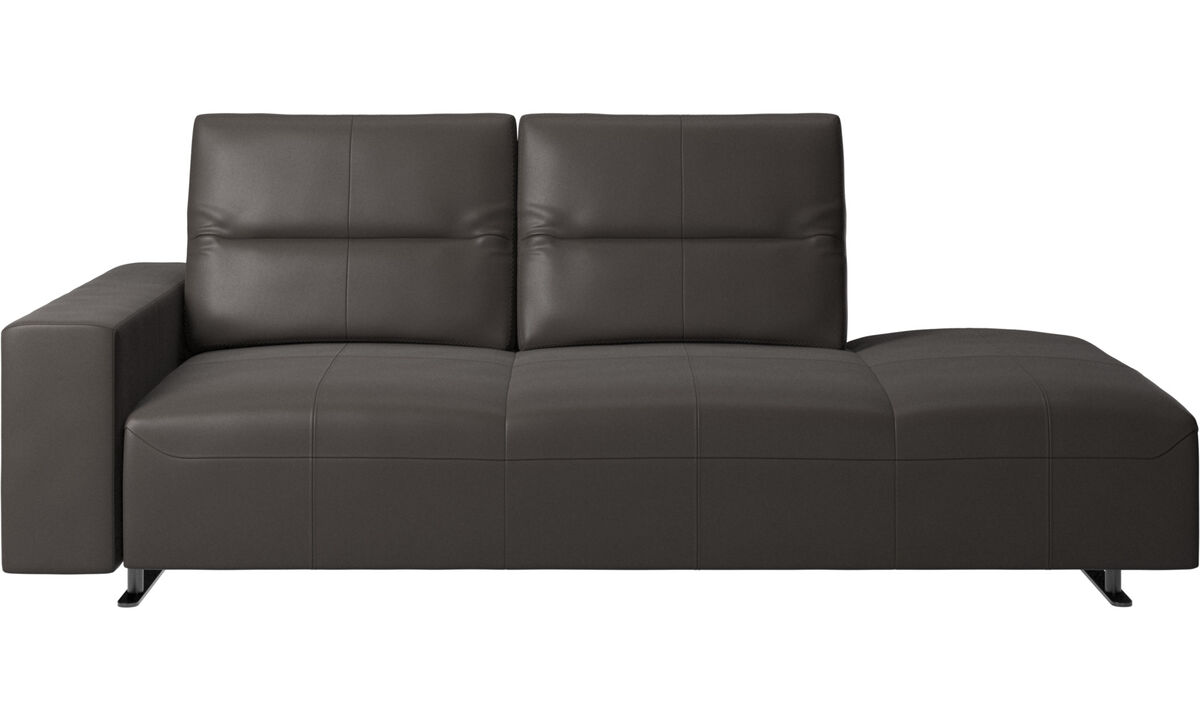 Sofas with open end - Hampton sofa with adjustable back and lounging unit right side, storage and armrest left side - Brown - Leather