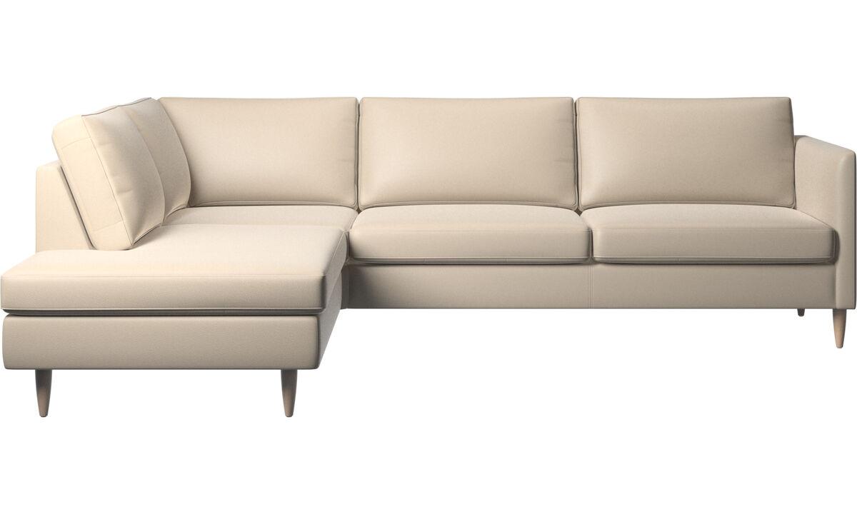 Καναπέδες με μονάδα lounging - γωνιακός καναπές Indivi με μονάδα lounging - Μπεζ - Δέρμα