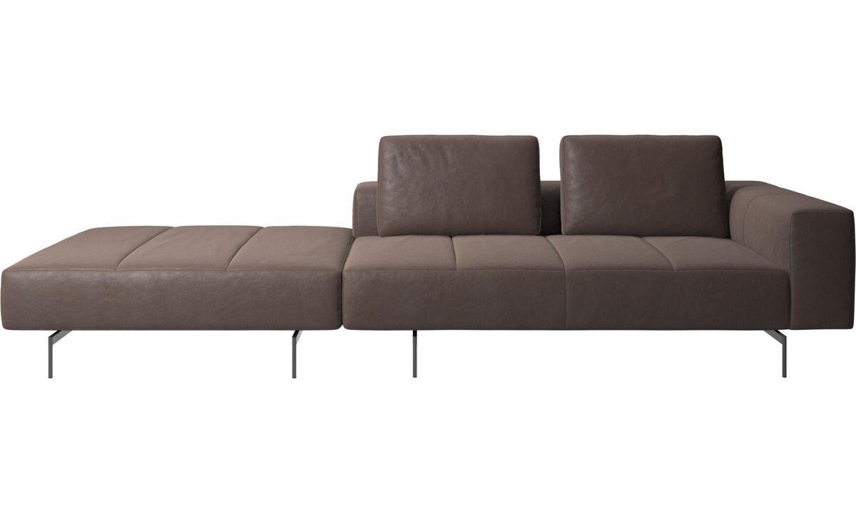 Modular sofas - Amsterdam sofa with footstool on left side - Brown - Leather