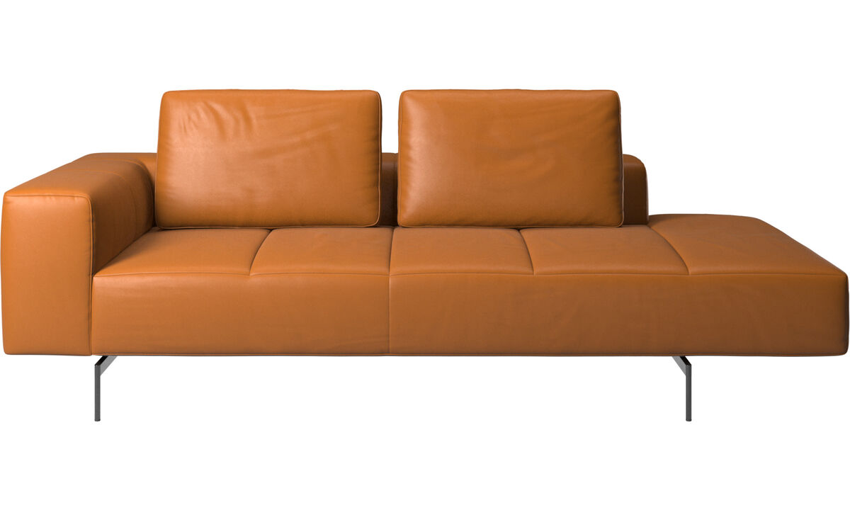 Chaise lounge sofas - Amsterdam resting module for sofa, armrest left, open end right - Brown - Leather