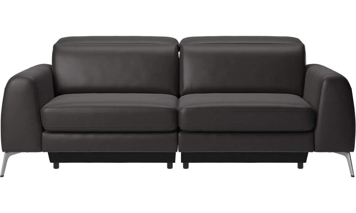 3 seater sofas - Madison sofa with adjustable headrest - Black - Leather