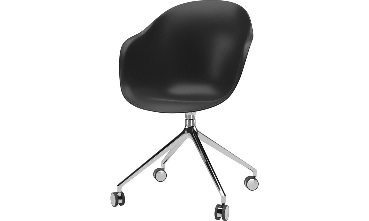 Home office chairs - Adelaide chair with swivel function and wheels - Black - Plastic