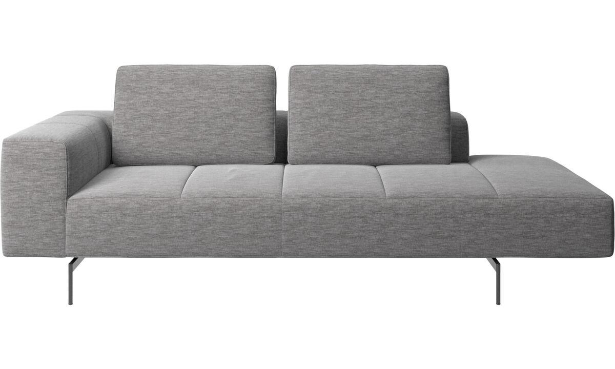 Modular sofas - Amsterdam resting module for sofa, armrest left, open end right - Grey - Fabric