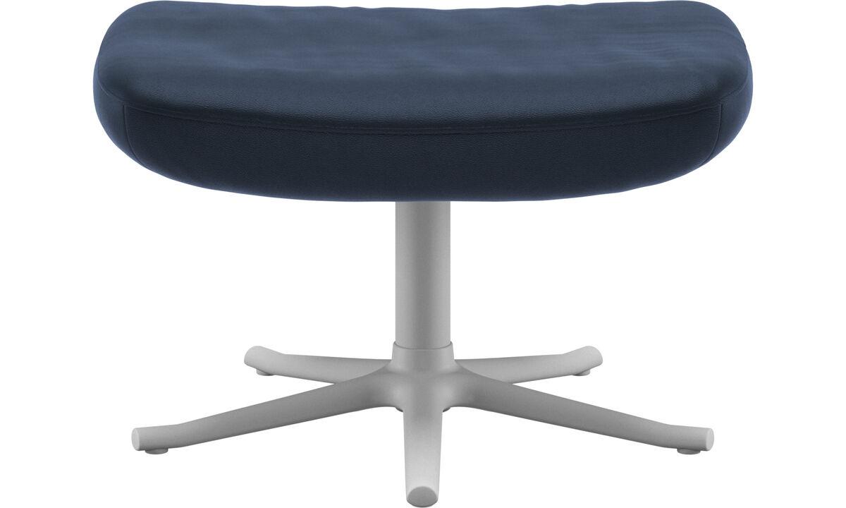 Footstools - Lucca footstool - Blue - Leather